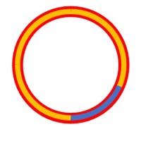 赤円:前輪が通る円 黄線:前輪が[angle]回転した時通る弧 青線:前輪が[ang_min]回転した時通る弧