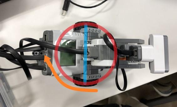青線:前輪間の距離 赤線:前輪が通る円 黄線:旋回する方向